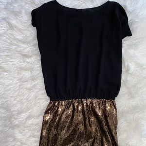 Express black and gold sequin short sleeve dress